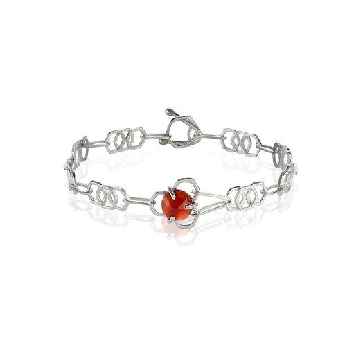 Garnet Honeycomb Chain Link Bracelet