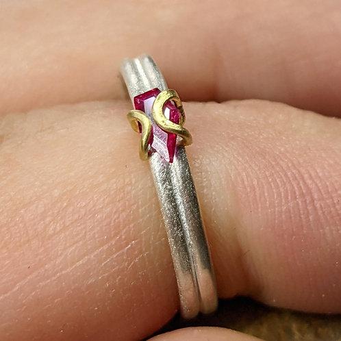 18K  and Argentium Wrap Iris Ring