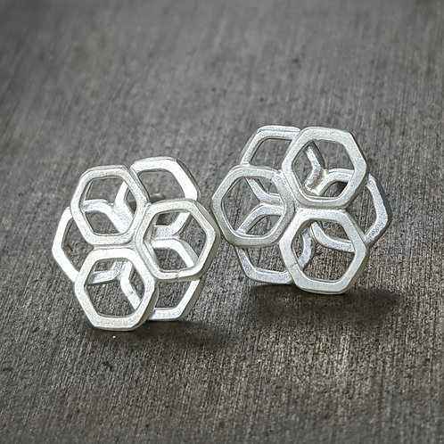 Honeycomb Pansy Studs - Stacked Hexagons Fused Together in a Flower Shape