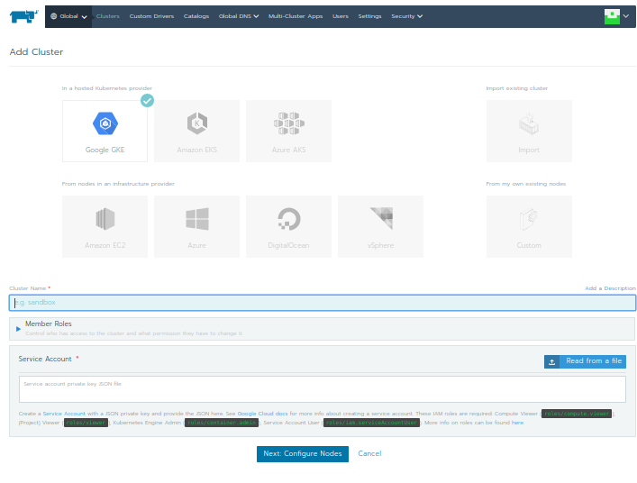 Adding cluster to rancher dashboard