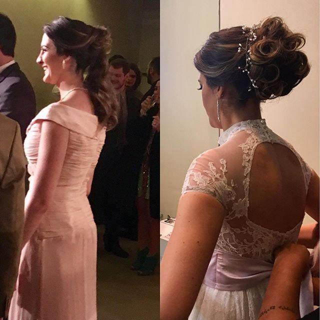 Noiva antes, recebendo os convidados, e depois para cerimônia! #vocêexclusiva #penteadodenoiva #acom