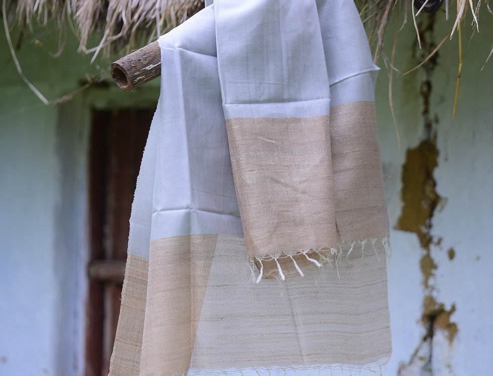 Handwoven Grey & Natural Brown Tussar Stole with a Border Design
