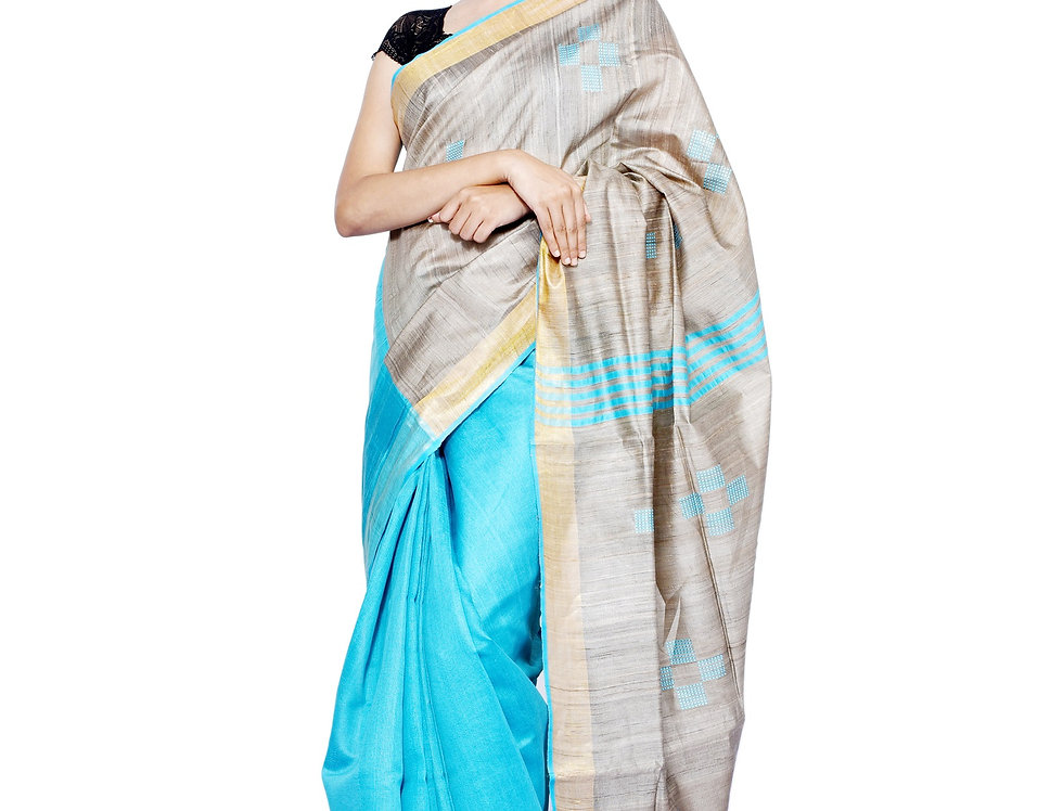 Handwoven Sky Blue & Natural Brown Dupion-Tussar Saree with Zaria Border