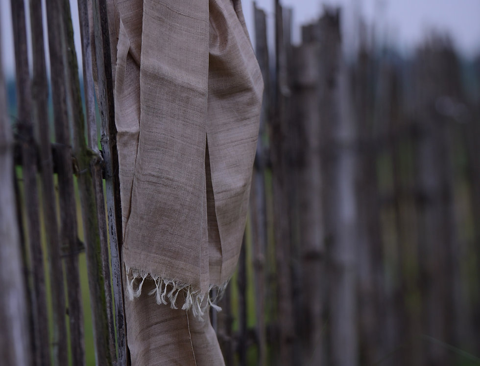 Handwoven Natural Brown Tussar Stole