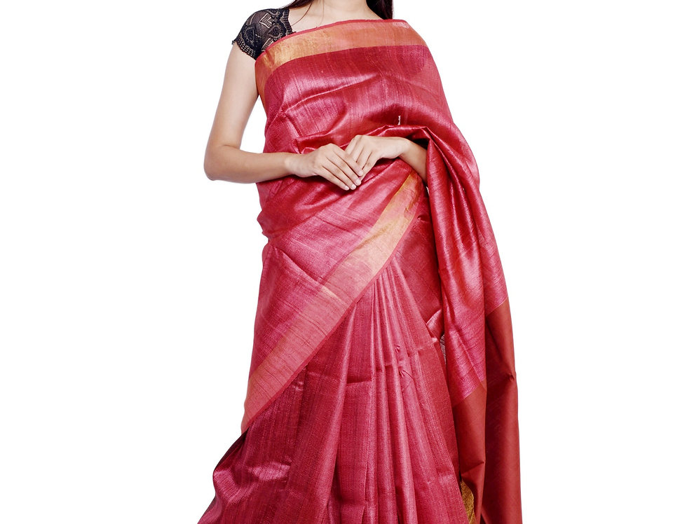 Red Hand woven Tussar Saree with Zari Border Design