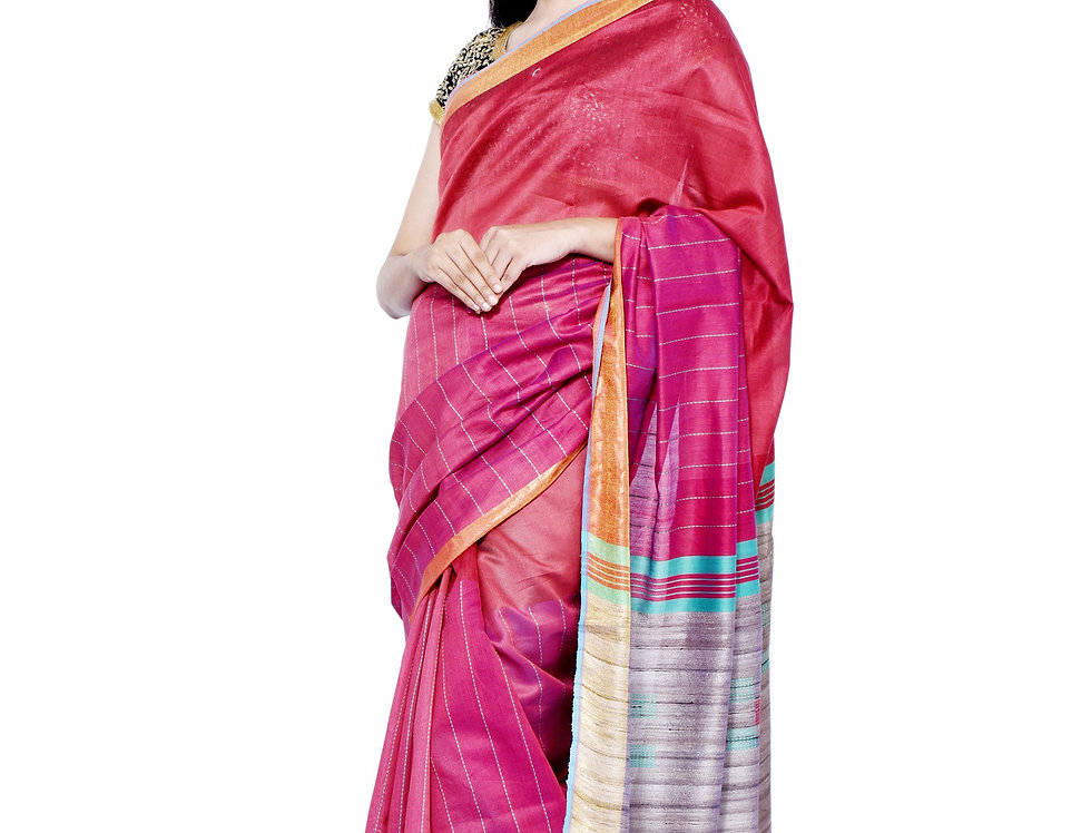 Hand Woven Red & Natural Brown Tussar-Cotton Saree with Zari Border