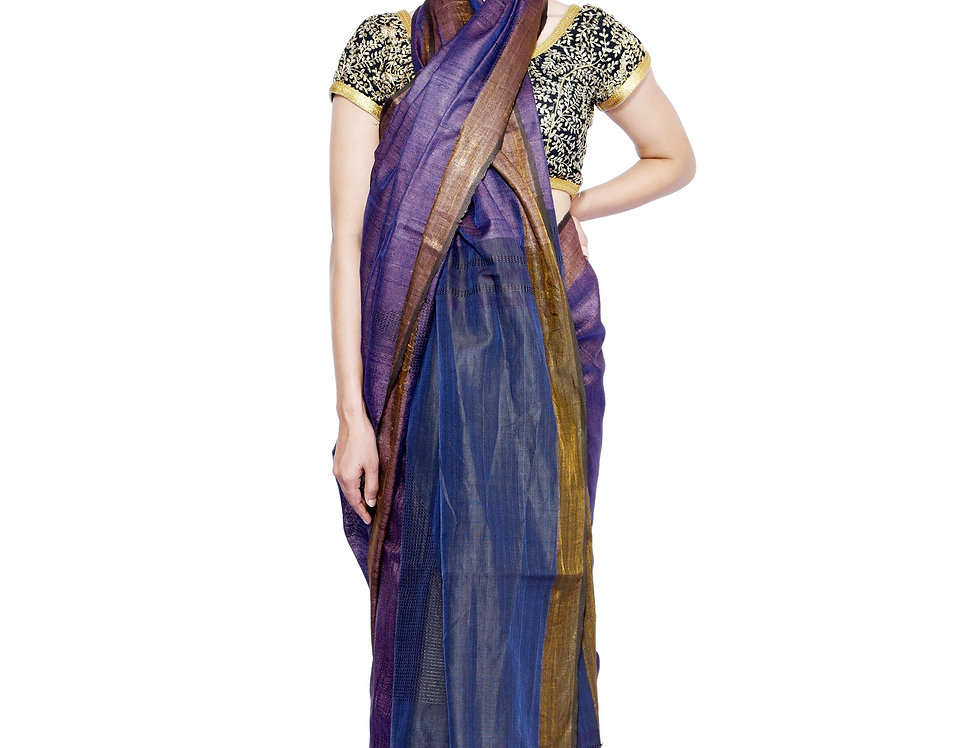 Violet Handwoven Tussar Saree With a Zari Border
