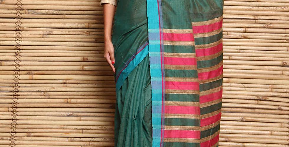 Green & Pink Tussar & Matka Silk Hand Woven Saree