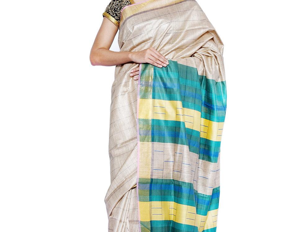 Natural Golden Hand woven Tussar Saree with Striped Pallu & a Zari Border