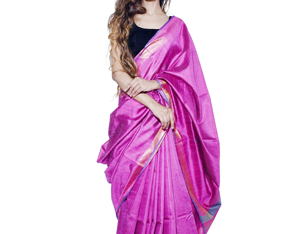 Handwoven Magenta Tussar Saree With Zari border Design