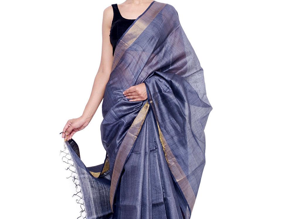 Grey Hand Woven Tussar Silk Saree With a Zari Border