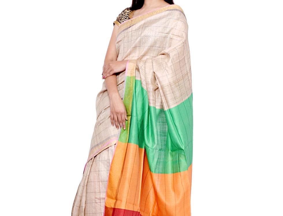 Natural Golden Hand woven Tussar Saree with Zari Border & a Multicolour Pallu