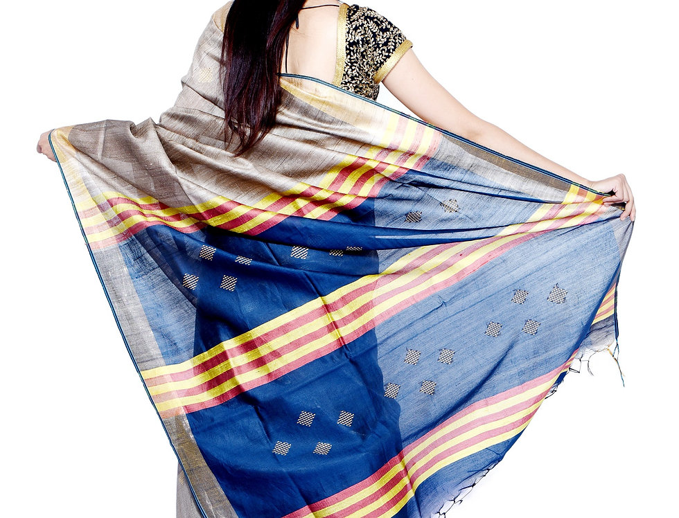 Handwoven Natural Brown & Blue Dupion-Tussar Saree with Zari a Border