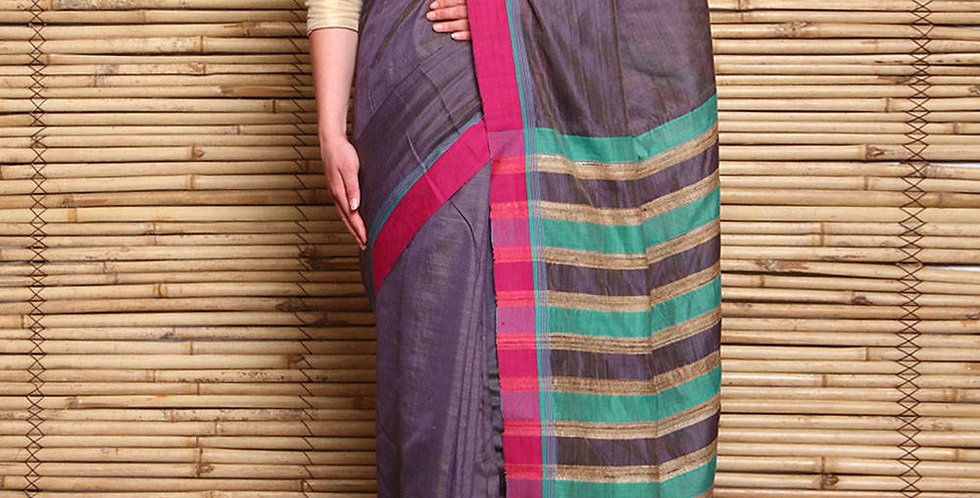 Purple & Green Tussar & Matka Silk Hand Woven Saree