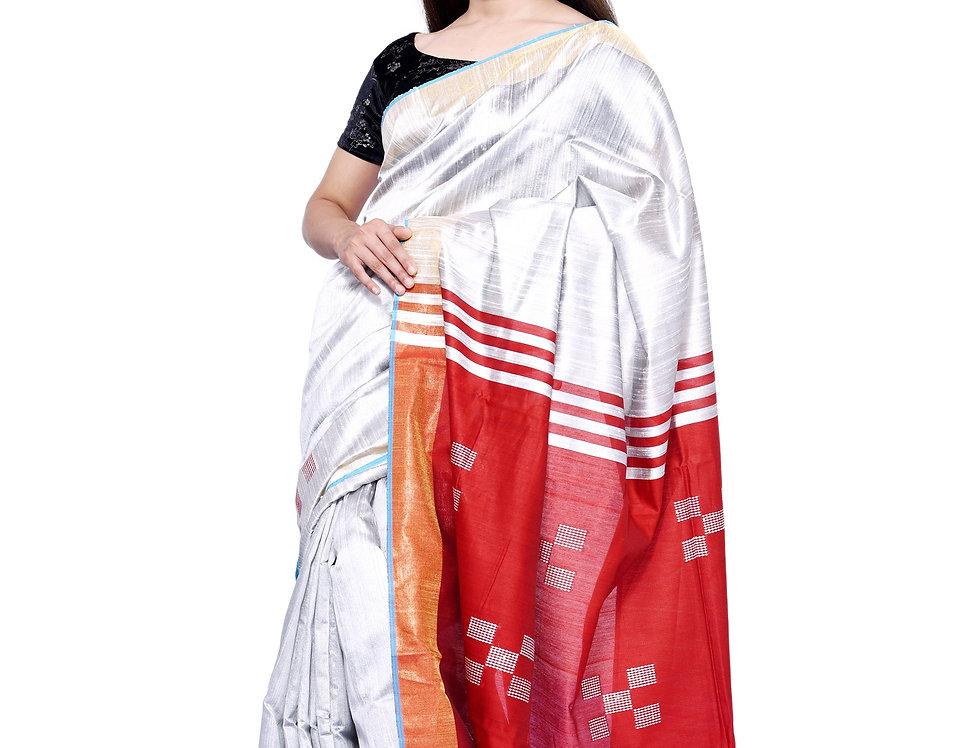 Ecru & Red Hand woven Dupion Silk Saree with Zari Border Striped Pallu