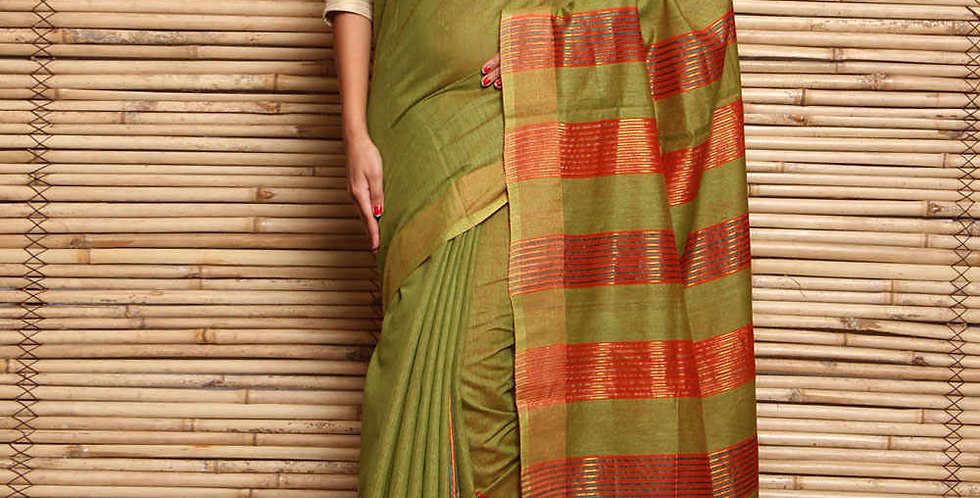 Green And Red Tussar Silk & Matka Silk Hand Woven Saree