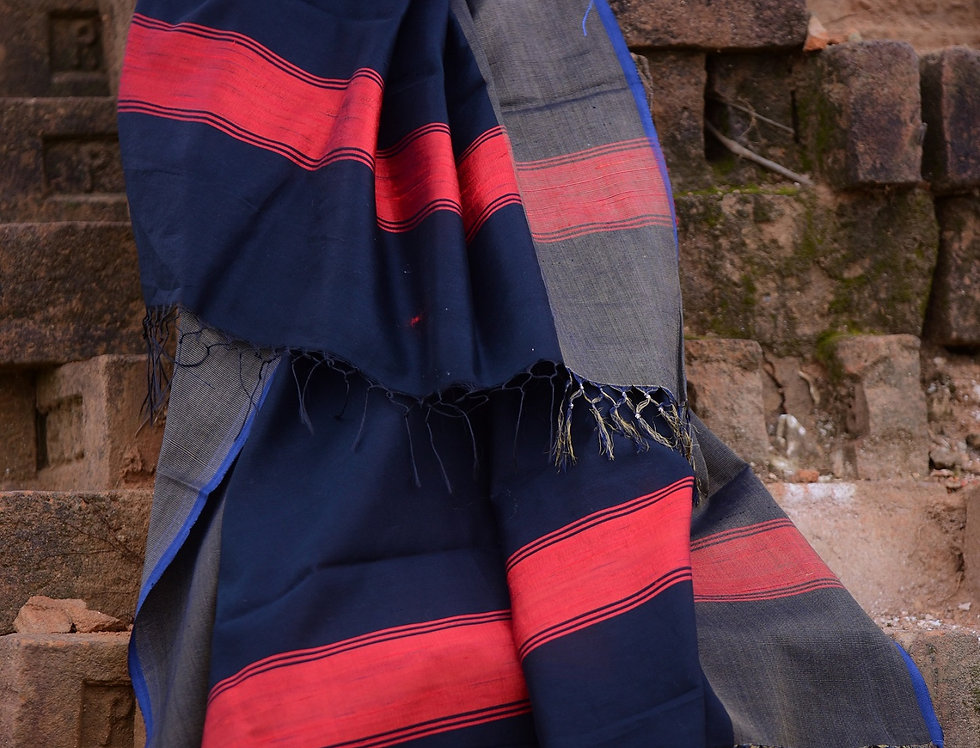Handwoven Navy Tussar Stole with a Coral Border Design