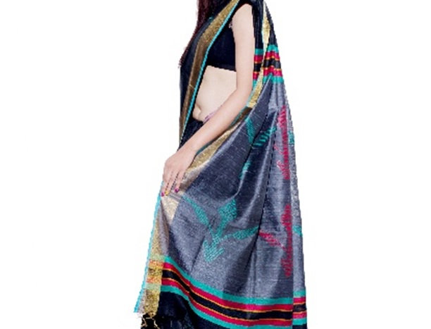 Black Hand woven Dupion Silk Saree with Multi-Colour Striped Pallu & Zari Border