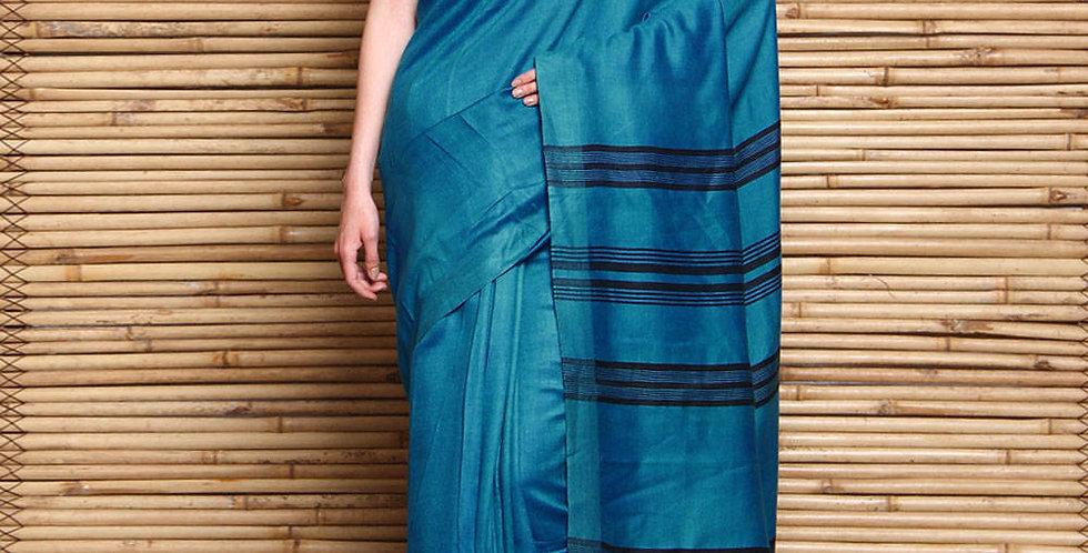 Blue Tussar Silk & Matka Silk Hand Woven Saree
