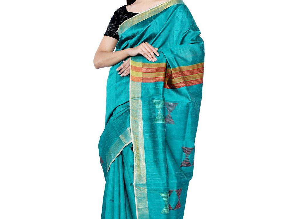 Green & Orange Hand woven Tussar Saree With Zari Border & Buta Design