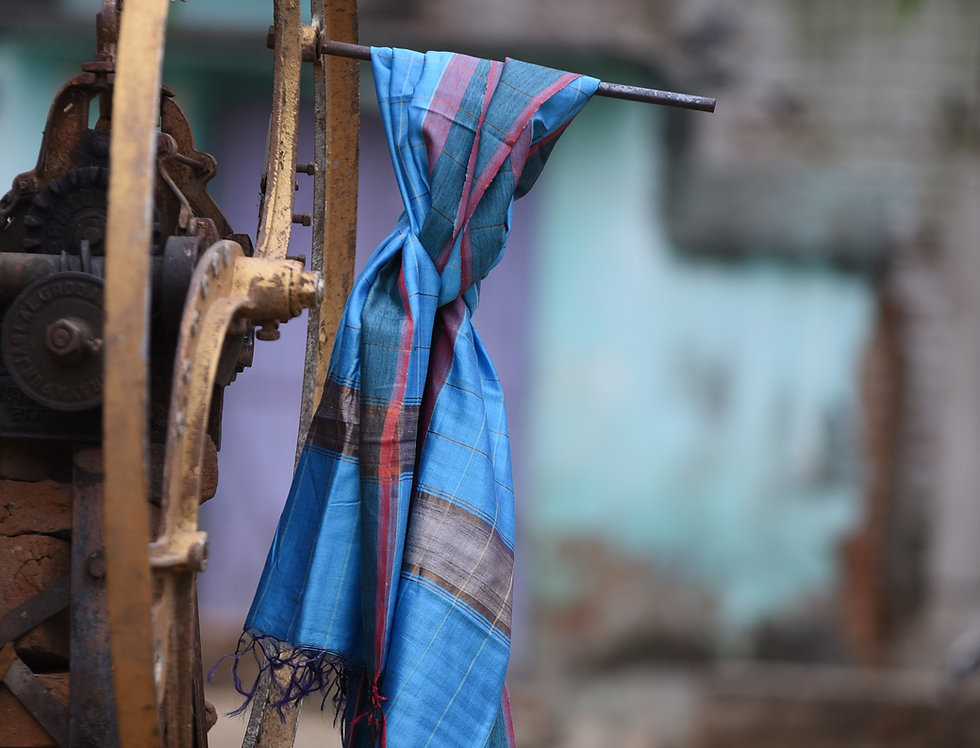 Handwoven Blue Tussar Stole with a Border Design
