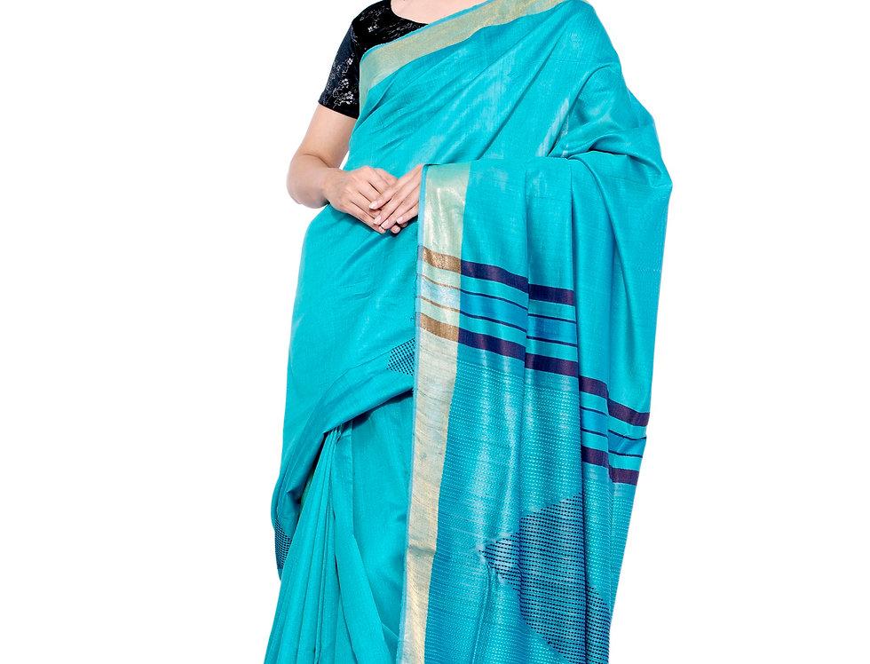 Blue Hand woven Tussar Saree with Zari Border & Striped Pallu Design