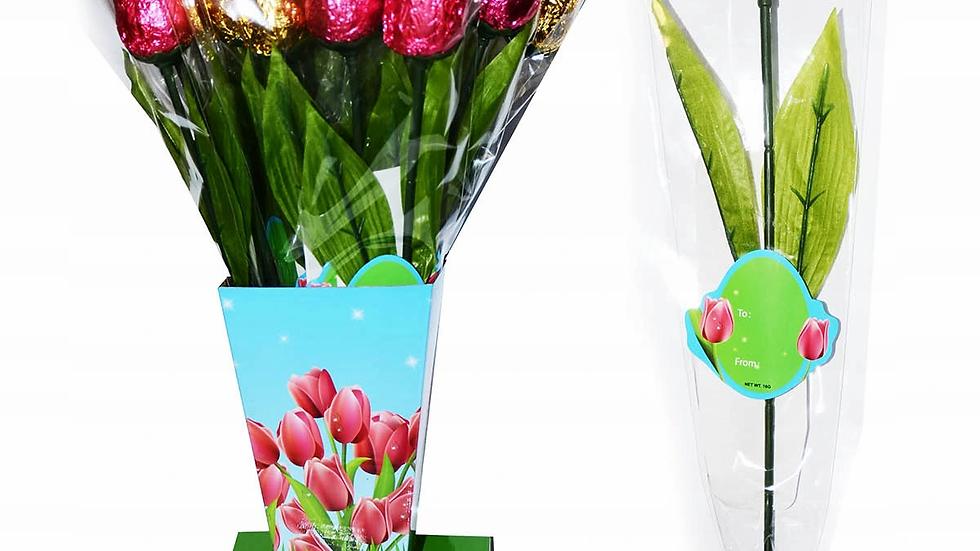 Tulipan z czekolady 16g. x 18szt. 40cm