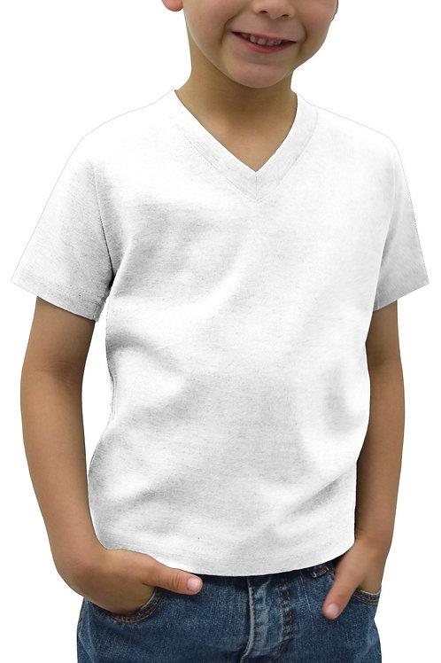 Kids V-Neck Short Sleeve-White (6-pack)