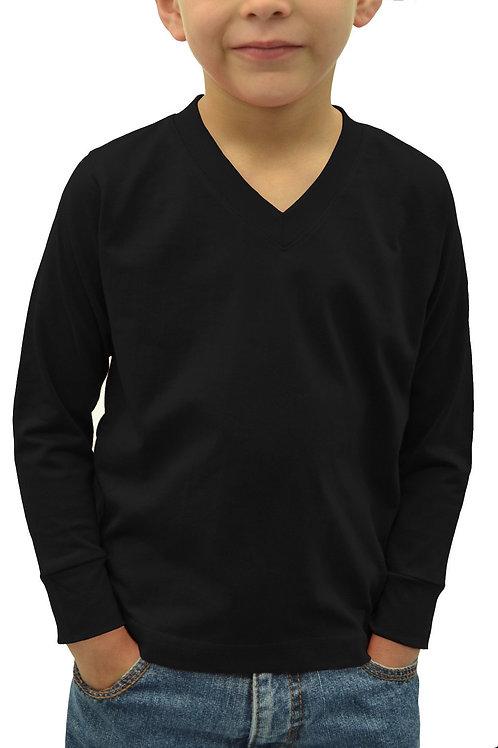 Kids V-neck Long Sleeve T-shirt (6-pack)