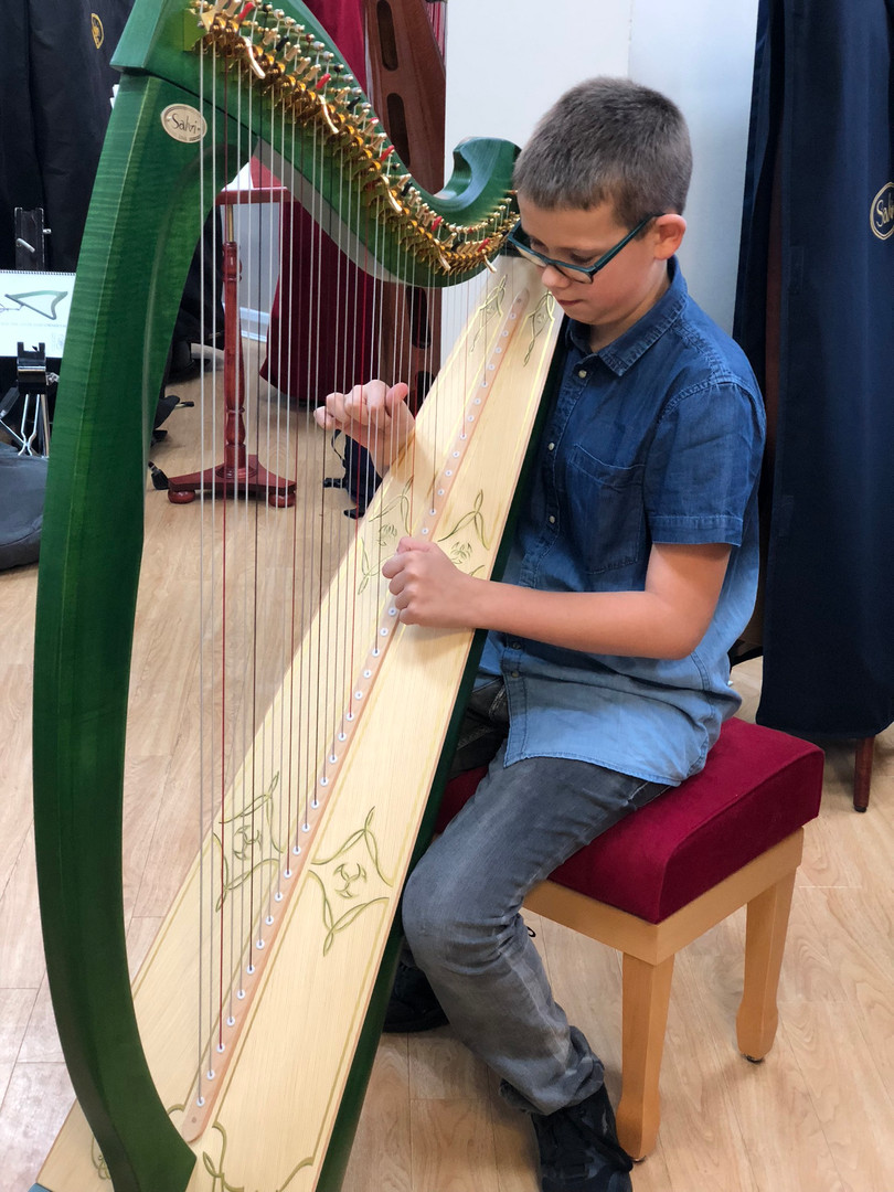 Trying out a new harp