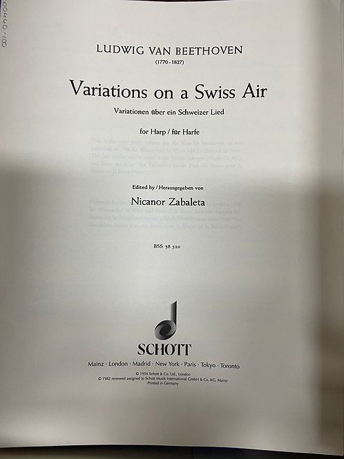 Beethoven: Variations on a Swiss Air arr. Zabaleta