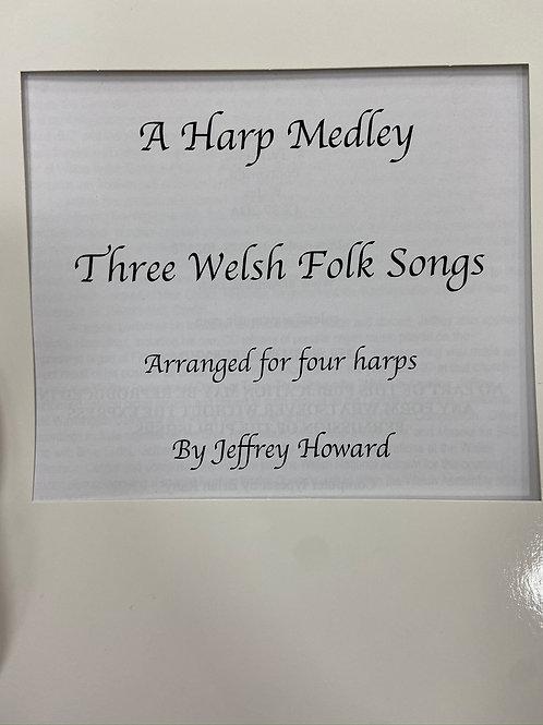 Howard: Three Welsh Folk Songs arr 4 harps