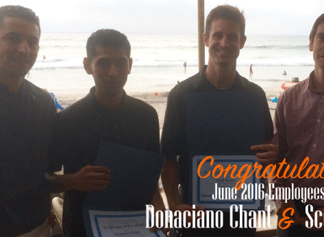 Congratulations to our June 2016 Employees of the Month