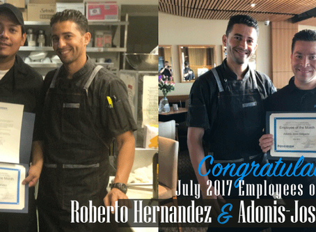 Congratulations to our July 2017 Employees of the Month