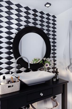 ROMBO BEVELED BLACK AND WHITE