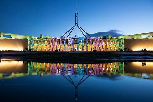 Parliament House sunset Enlighten 2016