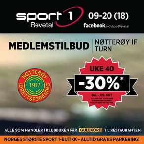 Klubbuke uke 40 (04 - 09. oktober) hos Sport 1 Revetal  -  30 rabatt