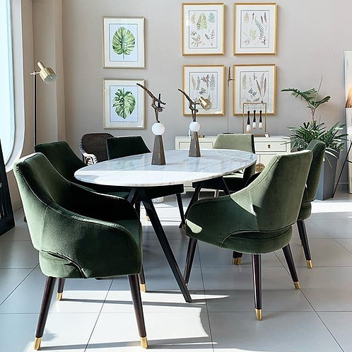 OVAL MARBLE TOP DINING TABLE