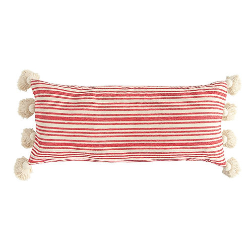 STRIPED LUMBAR PILLOW (RED)