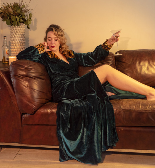 Womens Green Velvet Dressing Gown