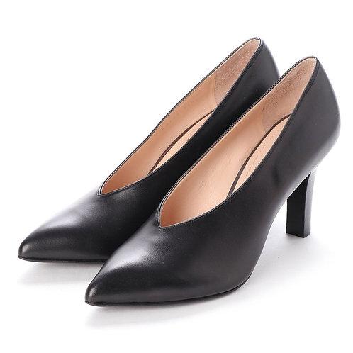 V cut heel pumps Black