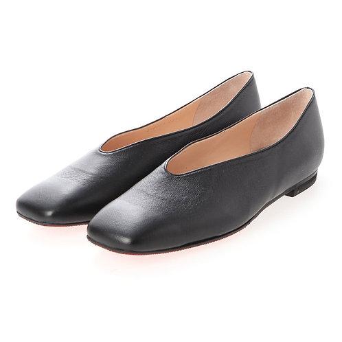 V cut flat shoes Black