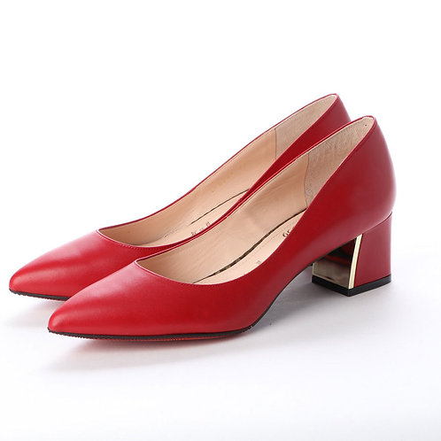 Chunky heel pumps Red