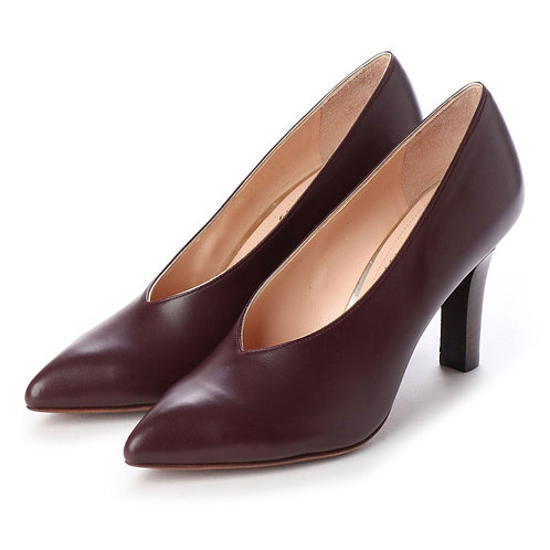 V cut heel pumps Wine