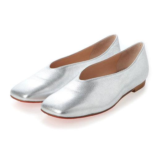 V cut flat shoes Silver