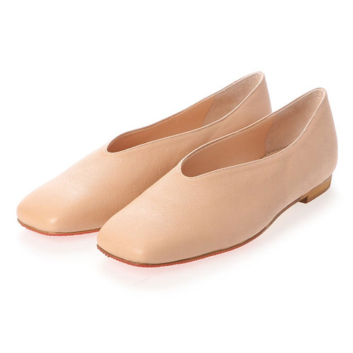 V cut flat shoes Beige