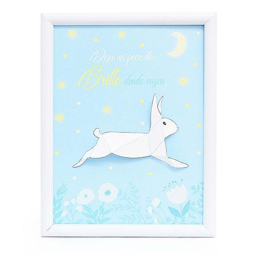 Cuadro de conejo facetado en papel