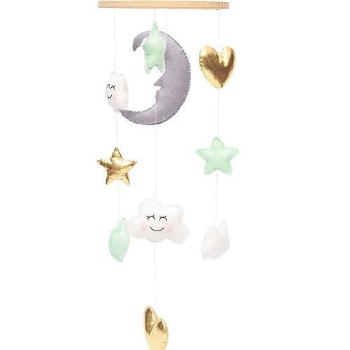 Mobil de media luna y estrellas