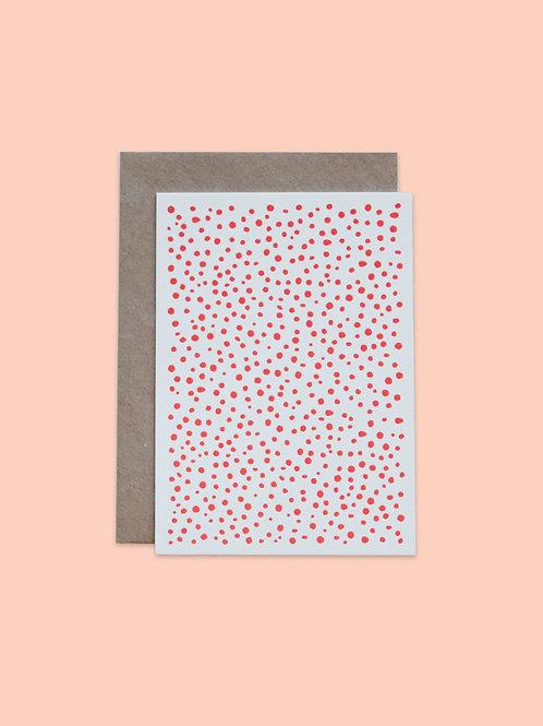 Letterpress Postkarte Dots Rot