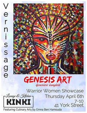 Vernissage - Genesis Art (Geneviève Langlois) on Thursday April 6, 2017 at Kinki's in Ottawa